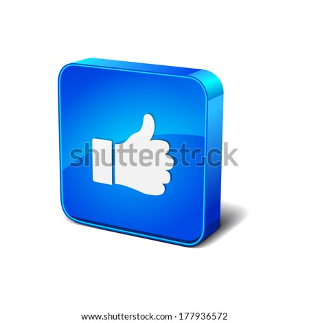 Thumbs Up 3d Rounded Corner Blue Vector Icon Button - stock vector