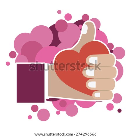 Thumbs up design over white background, vector illustration - stock vector
