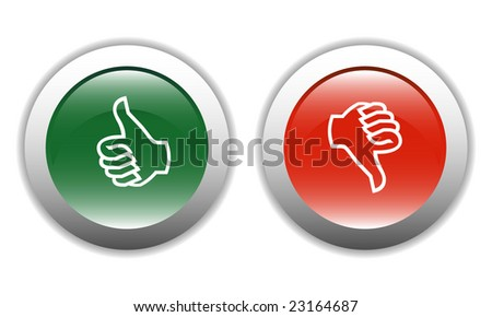 Thumbs Up & Down Icons - stock vector