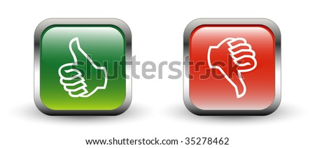 Thumbs Up & Down Sign Icons - stock vector