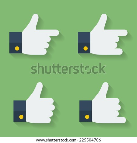 Thumbs up icon set. Flat style - stock vector