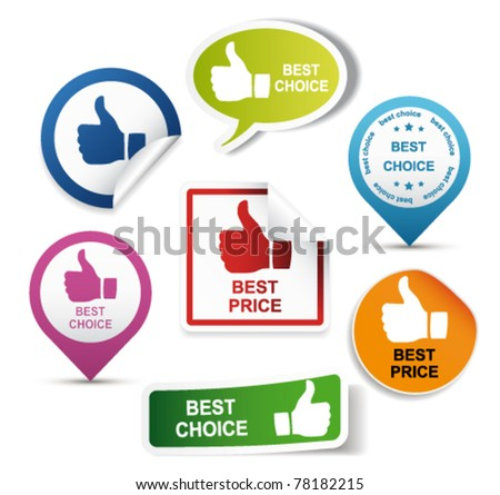 Thumbs up labels. Vector - stock vector