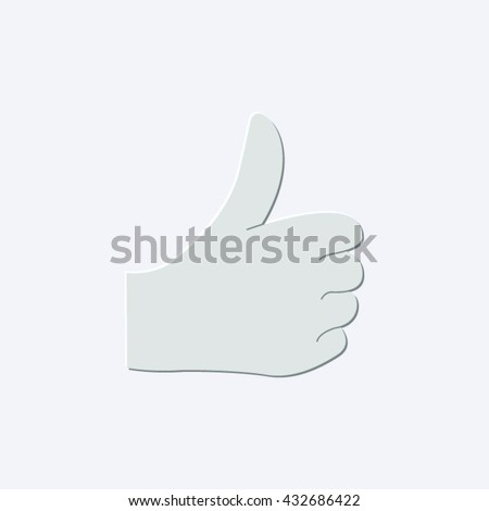 thumbs up - light gray vector icon