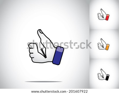 thumbs up like hand illustration symbol with fountain pen nib groove. different colored human hands with fountain pen nib groove - education or study or schooling concept art set - stock vector