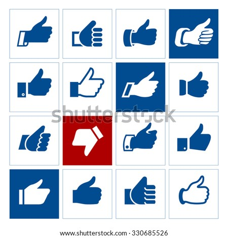 Thumbs up, set icons. Vector illustrations, set blue silhouettes isolated on white background.