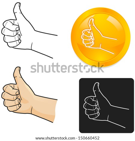 Thumbs up show the front of hand - stock vector