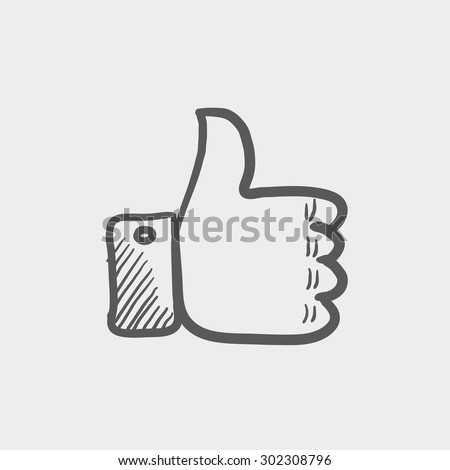 Thumbs up sketch icon for web and mobile. Hand drawn vector dark grey icon on light grey background. - stock vector