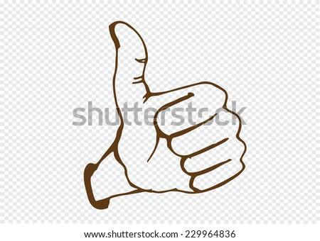 Thumbs Up symbol hand drawn - stock vector