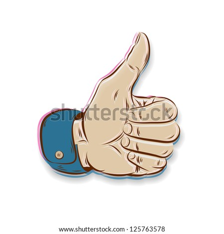 Thumbs Up symbol hand drawn isolated on white