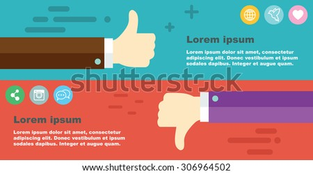 thumbs up, thumbs down banner, vector illustration - stock vector