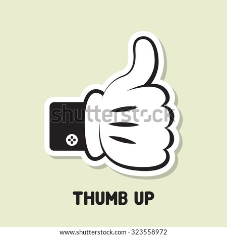 Thump up vector illustration sticker design