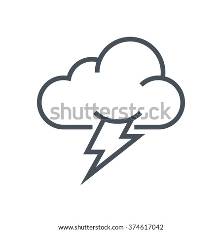 Thunder and cloud icon suitable for info graphics, websites and print media and  interfaces. Line vector icon. - stock vector