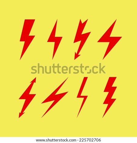 Thunderbolt signs on yellow background , Flash icon - stock vector