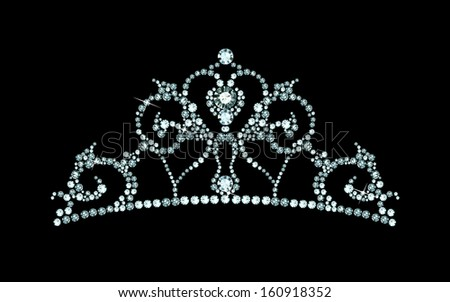 tiara decorated with jewels - stock vector