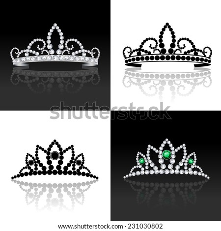 Tiara female luxury royal jewelry silver decorative set isolated vector illustration - stock vector