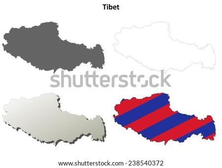 Tibet blank outline map set - Tibetan version - stock vector