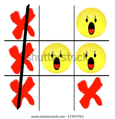 tic tac toe game with angry smiley face losing - vector - stock vector