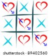 tic tac toe with hearts - stock vector