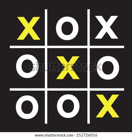 tic tac toe XO game ,  tic, tac, toe, x, game, o - stock vector
