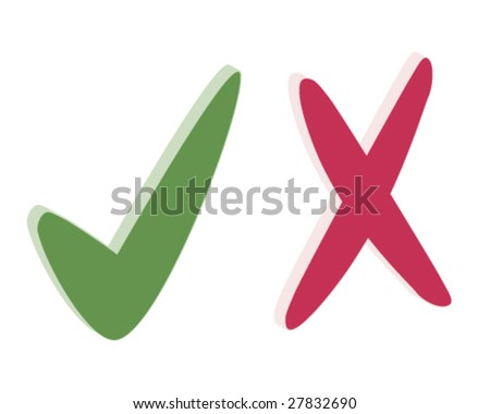 tick and cross - stock vector