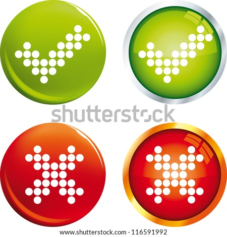 Tick and cross buttons - stock vector