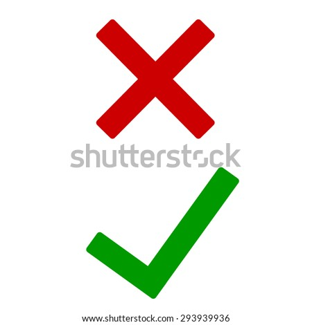 Tick and cross icons, yes no symbols green an red. Vector illustration - stock vector