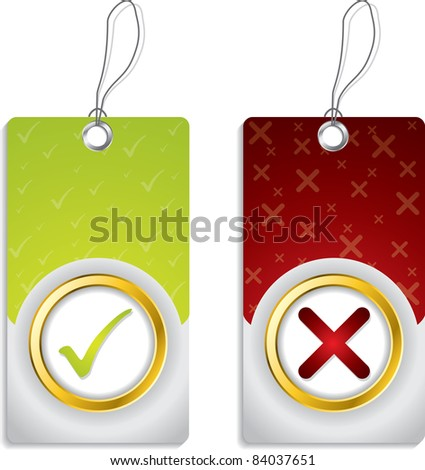 Tick and cross label set with golden ring design - stock vector