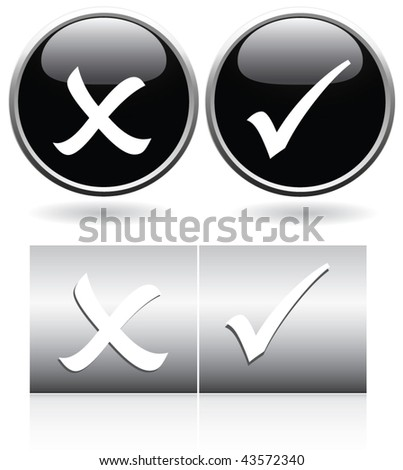 tick & cross web buttons