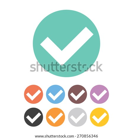 Tick icons set. Green, red, blue, brown, purple, black, orange, grey and yellow colors. Isolated on white background. Vector illustration. - stock vector