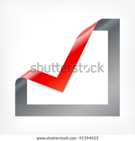 Tick mark icon. Checkbox icon with angle folded on square paper - stock vector