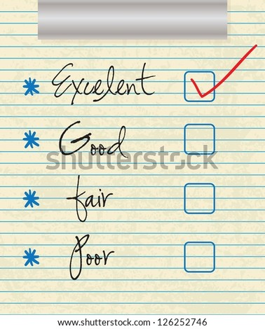 Tick placed in excellent check box on customer service satisfaction survey form - stock vector