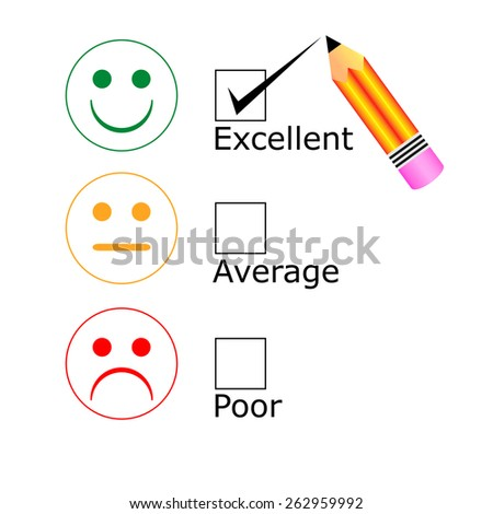 Tick placed in excellent check box with pencil - stock vector