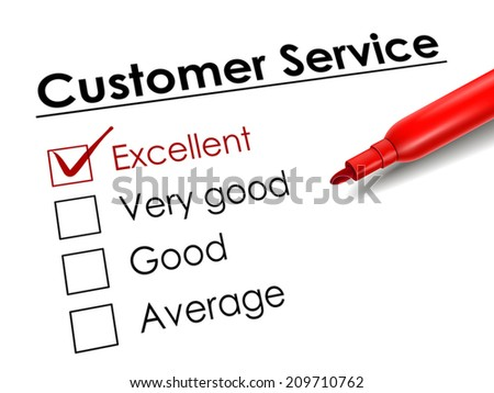 tick placed in excellent check box with red pen over customer service questionnaire - stock vector