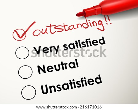 tick placed in outstanding check box with red pen over evaluation survey - stock vector