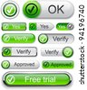Tick web green buttons for website or app. Vector eps10. - stock photo