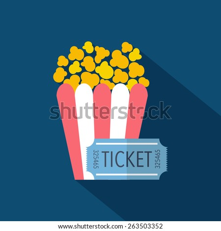 Ticket and popcorn icon. Flat design. Vector illustration - stock vector