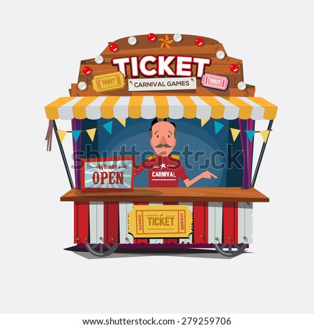 Ticket cart or booth in carnival festival. vintage and retro style with seller .character design. Ticket man. sellers shop - vector illustration - stock vector