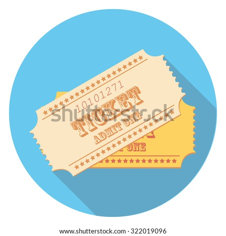 ticket flat icon in circle - stock vector