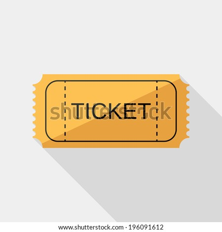 Ticket icon. Flat design style modern vector illustration. Isolated on stylish color background. Flat long shadow icon. Elements in flat design. - stock vector