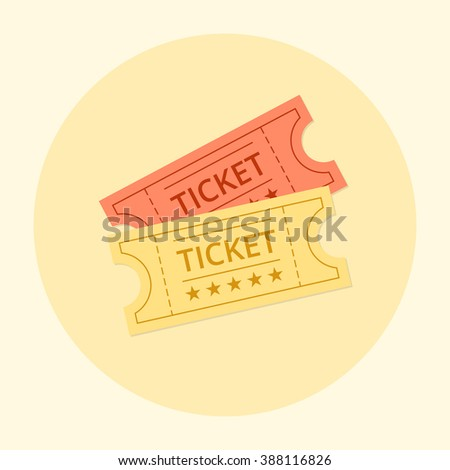 Ticket Icon on background. Ticket Entertainment. Ticket old vintage style. Ticket icon in the flat style. Ticket vector illustration. Ticket for cinema. Ticket movie icon. Ticket flat Illustration. - stock vector