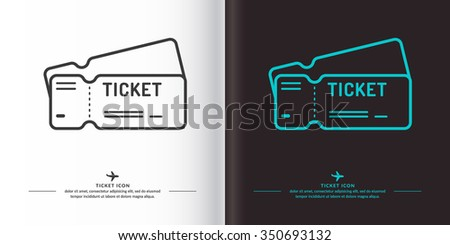Ticket icon on background. Vector illustration. The linear image of a plane ticket.