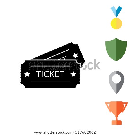 Ticket icon. Vector illustration.