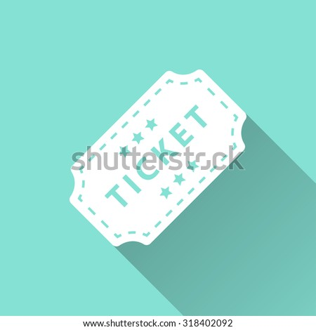 Ticket  icon with long shadow on green background, flat design. Vector illustration. - stock vector