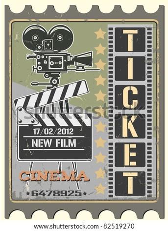 Ticket in cinema - stock vector