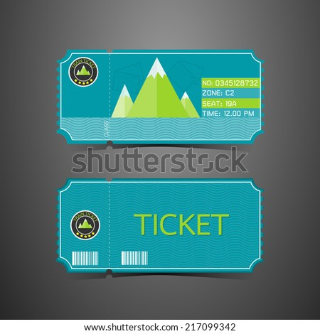 Ticket Mountain Park Retro Design Template - stock vector