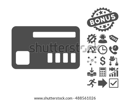 Ticket pictograph with bonus pictograph collection. Vector illustration style is flat iconic symbols, gray color, white background.