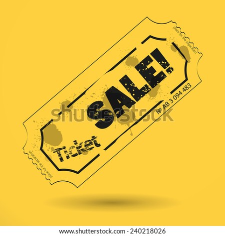 ticket sale on yellow background icon - stock vector