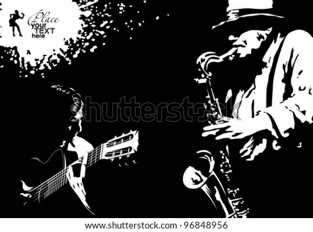 Ticket to the music and dance in a tango style (illustration); - stock vector