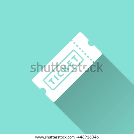 Ticket vector icon with long shadow. White illustration isolated on green background for graphic and web design. - stock vector