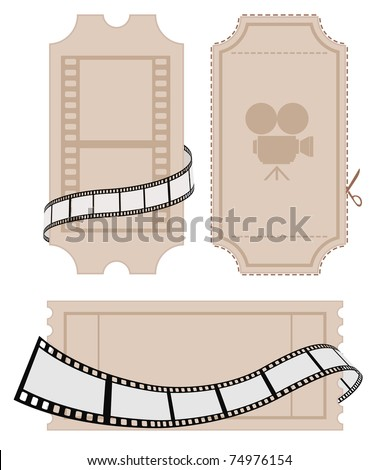 ticket with film strip - stock vector